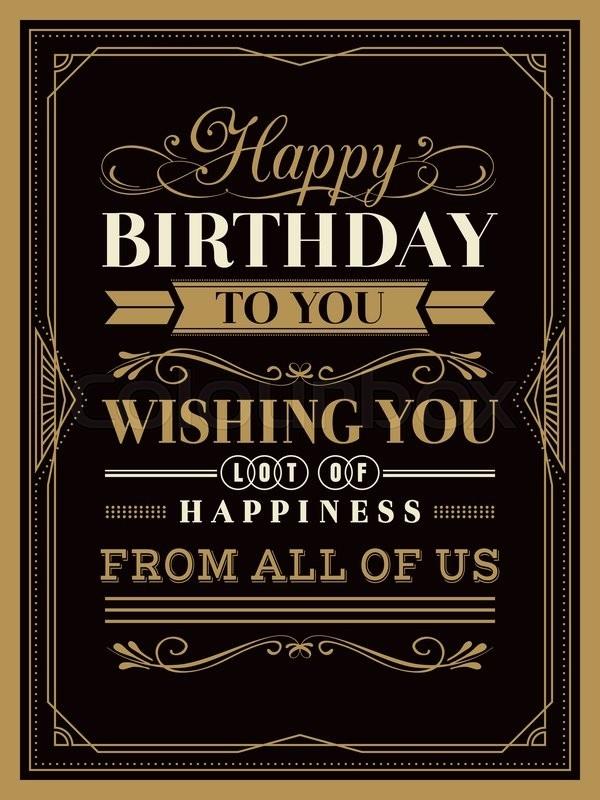 vintage happy birthday card typography stock vector
