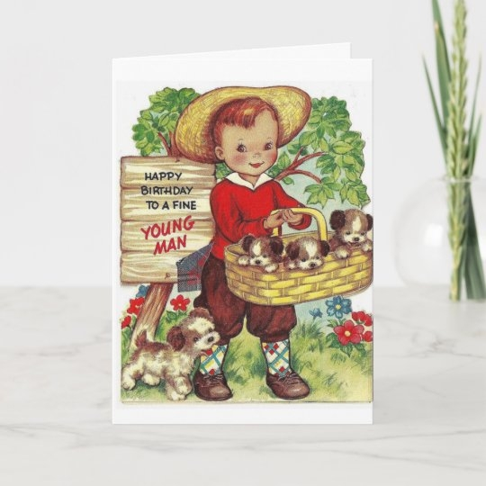 vintage happy birthday to a young man card zazzle