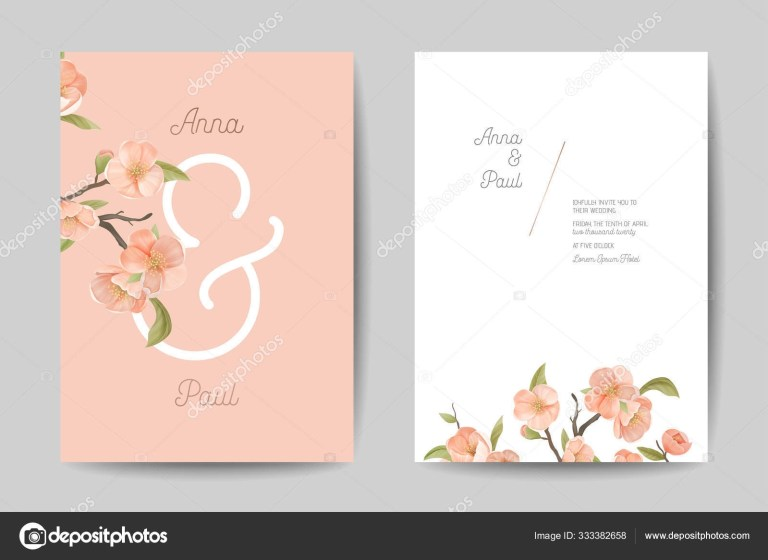 wedding invitation floral cute cards front and back side design set pink cherry flowers leaves and branch decoration invite poster banner flyer