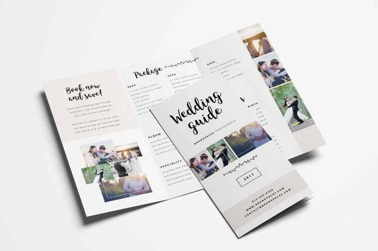 wedding photography trifold brochure template psd ai