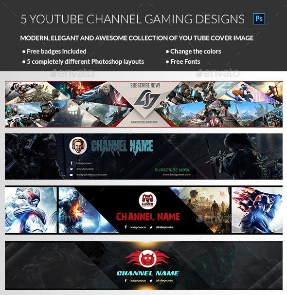 48 free premium psd youtube channel banners for the