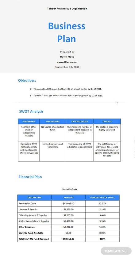 6 free startup business plan templates microsoft word
