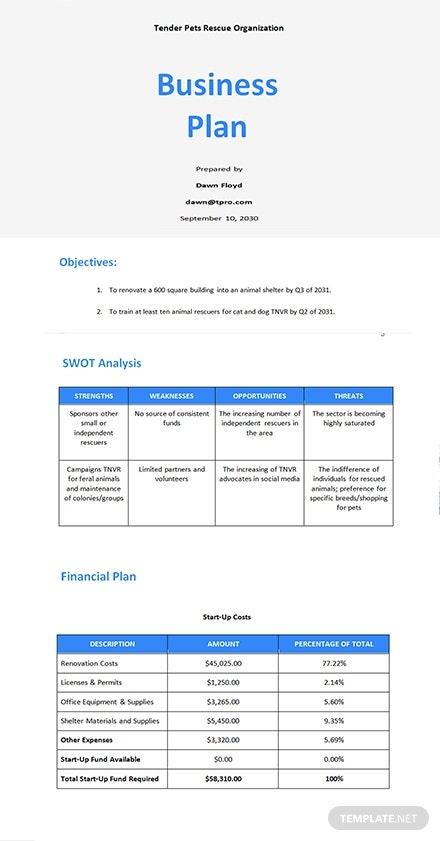 6 free startup business plan templates microsoft word