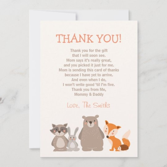 ba shower thank you card woodland zazzle