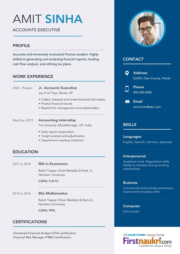 basic resume format for freshers in ms word