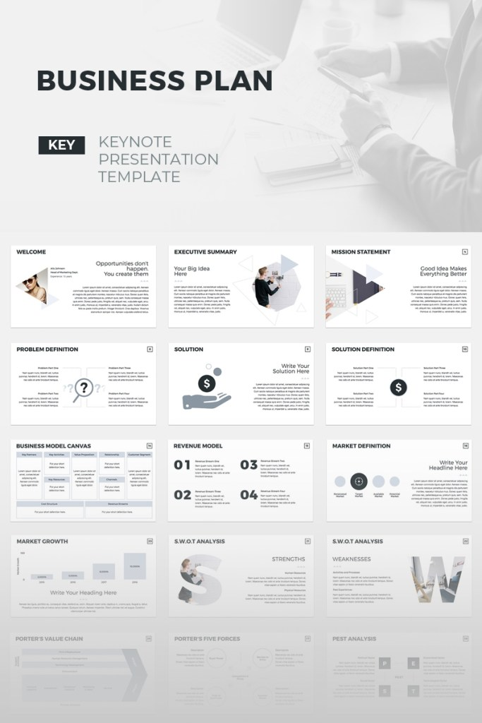 business plan creative keynote template 70496