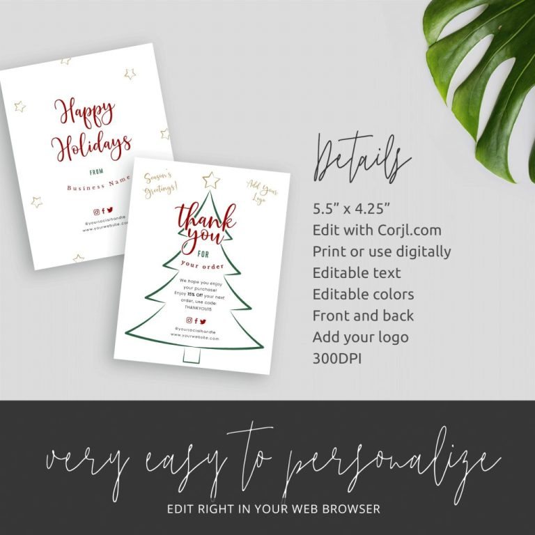 christmas business thank you card template editable