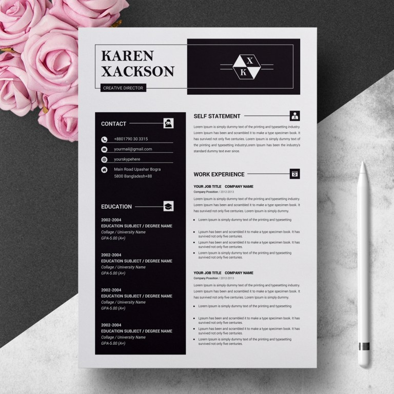 clean creative resume template 71067