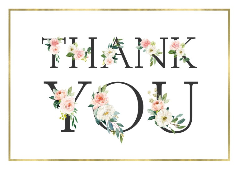 frame and floral thank you card template greetings island