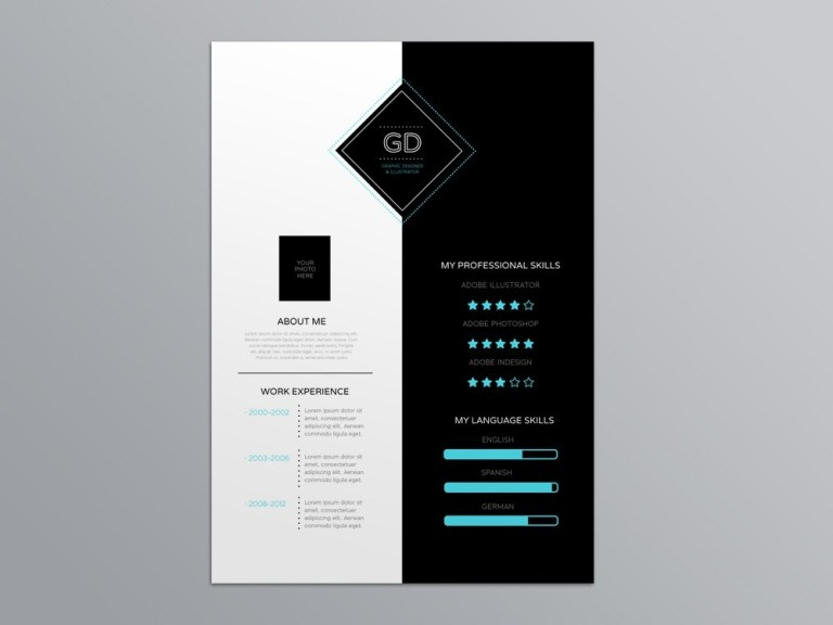 free attractive infographic resume template for job seeker
