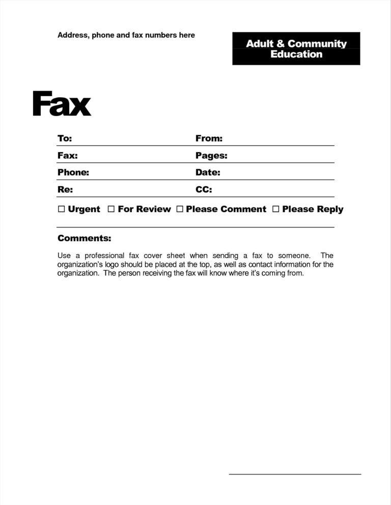 free printable fax cover letter template collection