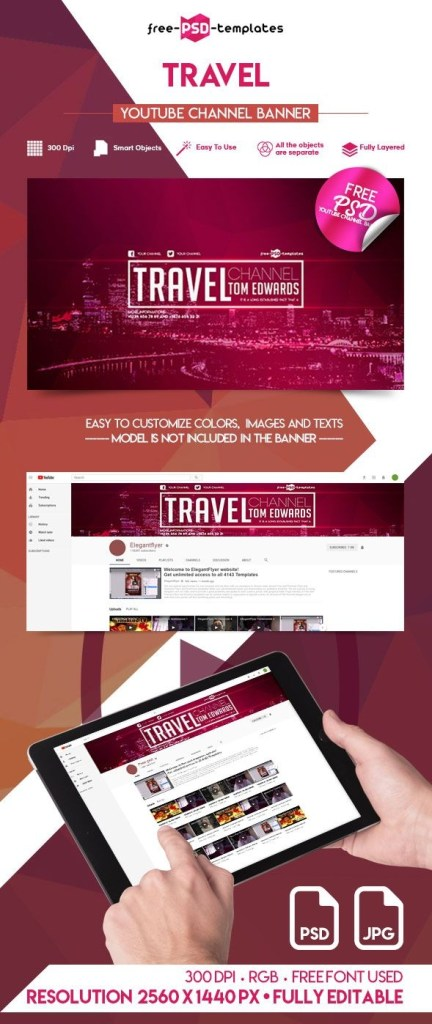 free travel youtube channel banner freebiedesign