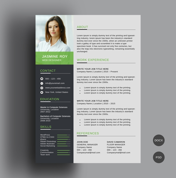 freebie clean cvresume template freebies graphic