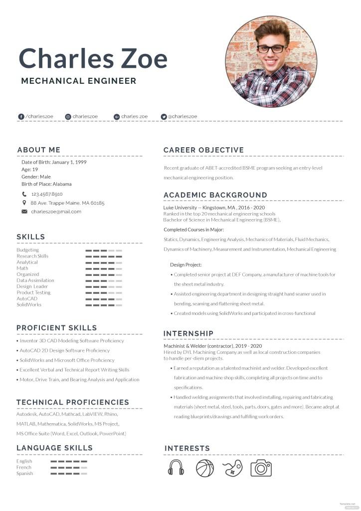 mechanical engineer fresher resume template in adobe