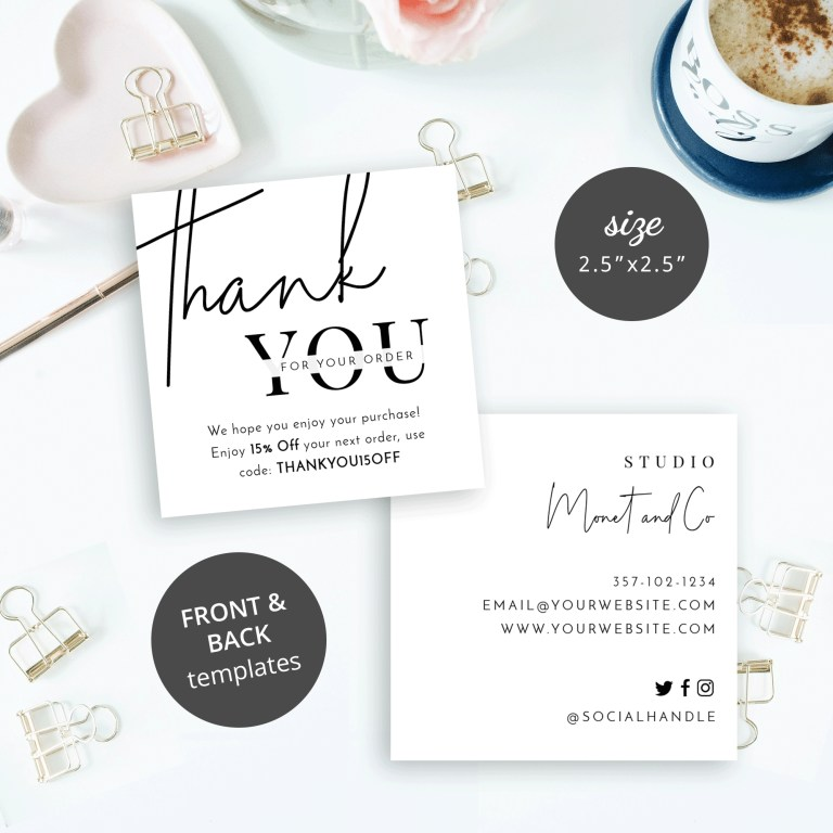 mini thank you card template printable business thank