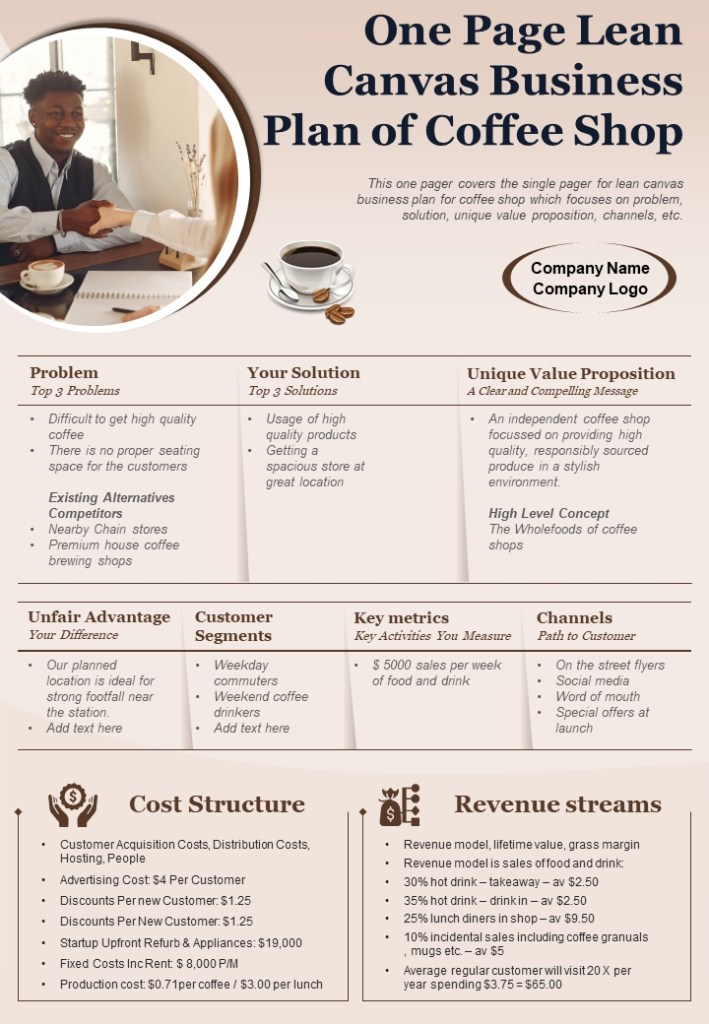 one page lean business plan and business canvas templates