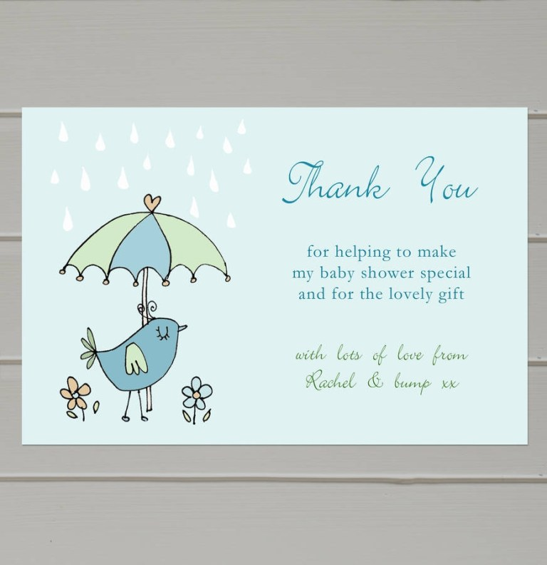 personalised ba shower thank you cards molly moo