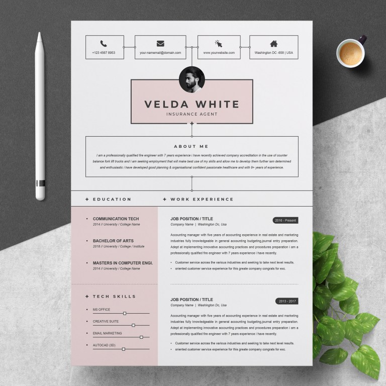 resume template creative resume template for word and