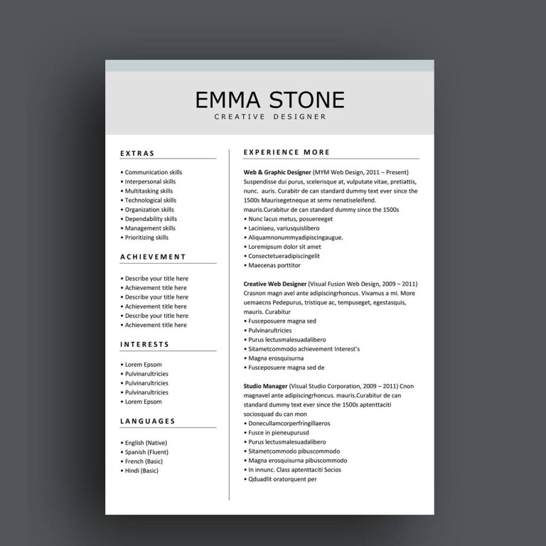 resume template for ms word and pages version graphic