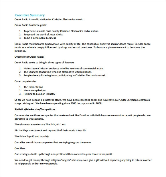 sample startup business plan template 7 free documents