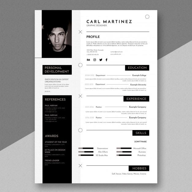 simple minimal resume template premium psd file