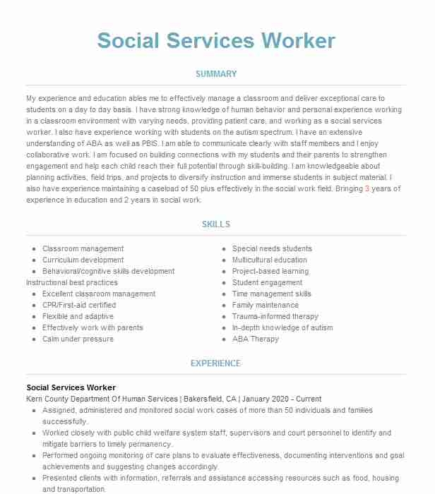 socialhuman services worker resume example city mission