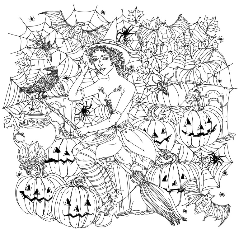 halloween drawing witch with pumpkins to adult coloring pages