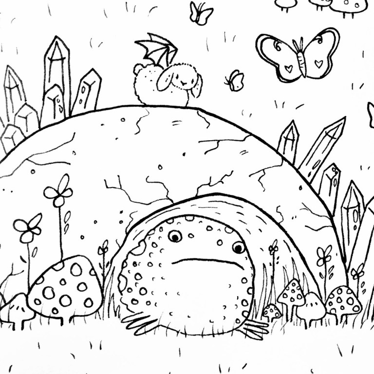 aesthetic cottagecore coloring page