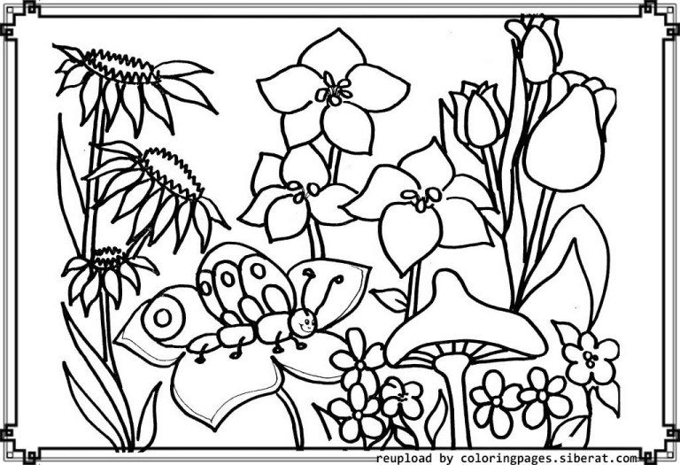 all characters flower garden coloring pages to download and print for free