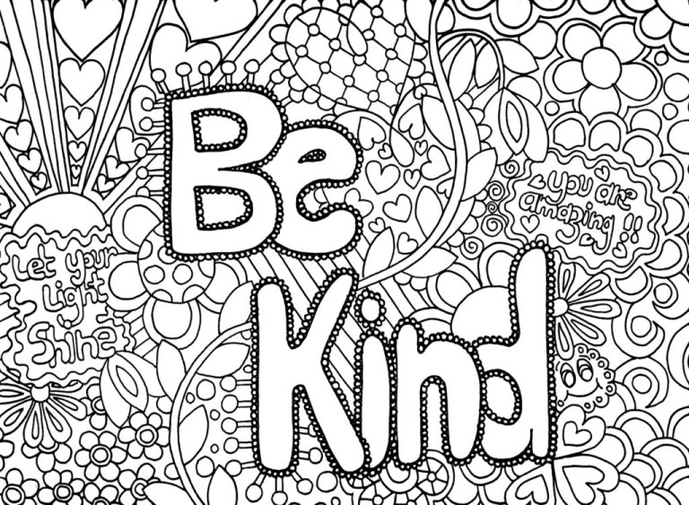 be kind Adult Coloring Pages Abstract