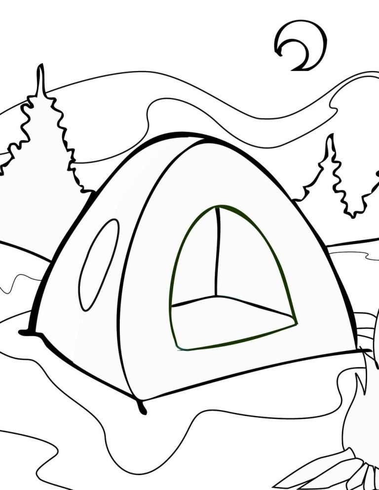 Camping Coloring Sheets