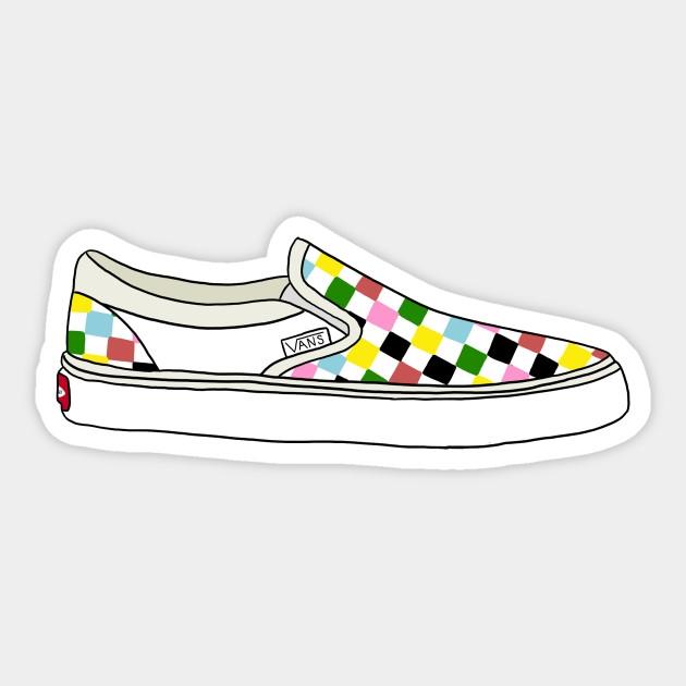checkerboard vans shoe multi color vans sticker image