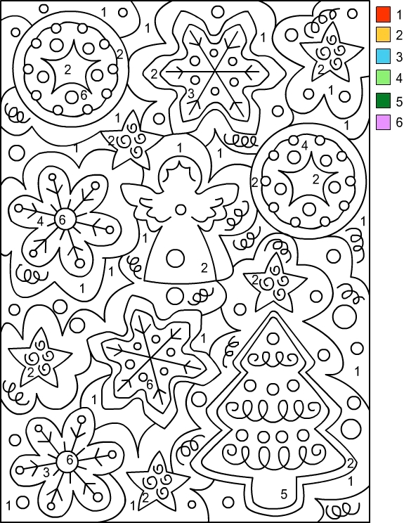 Color By Number Christmas Worksheets
