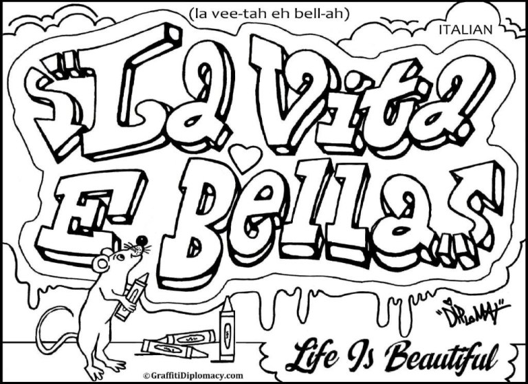 Cool Graffiti Coloring Pages
