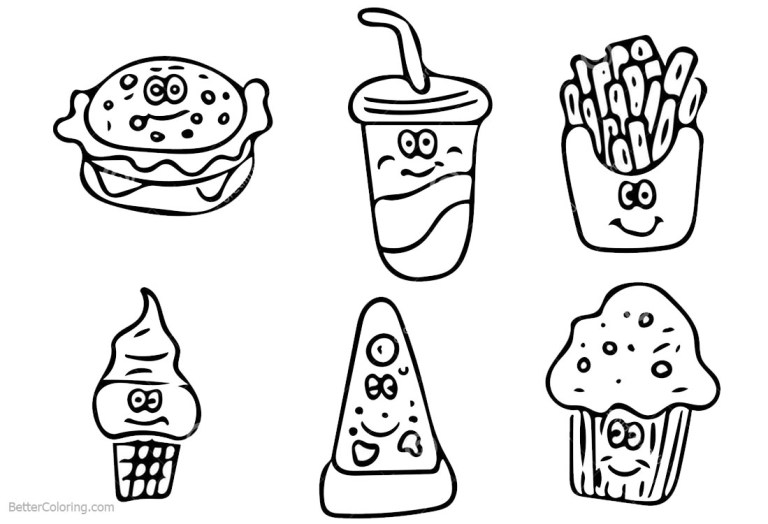 cute food coloring pages for kids drawing free