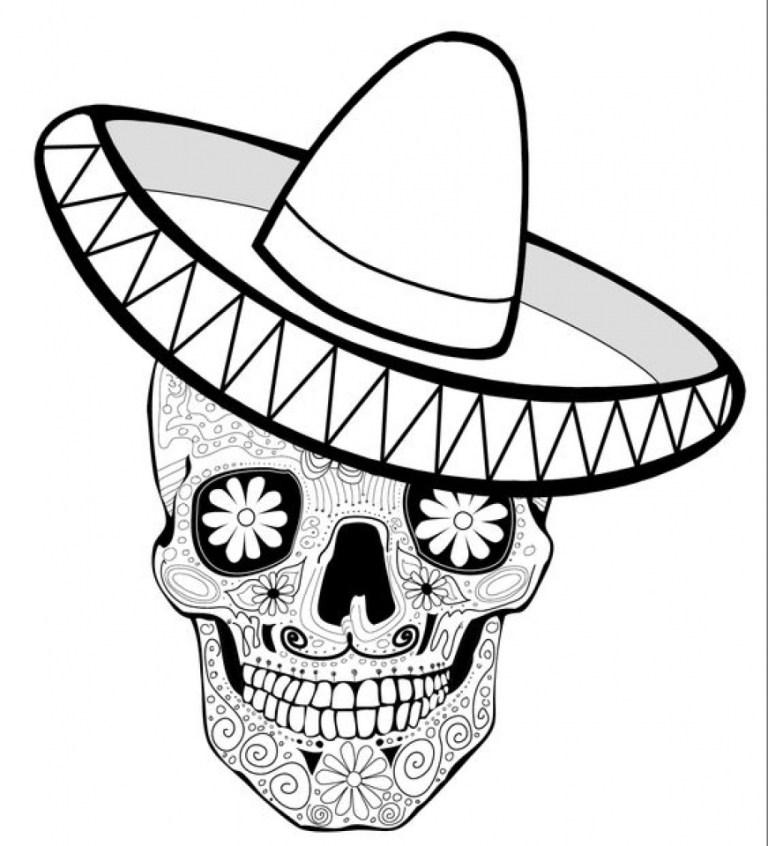 Dia De Los Muertos Skeleton Coloring Pages