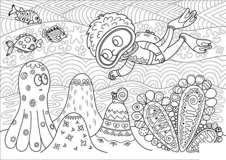 Diver Coloring Pages