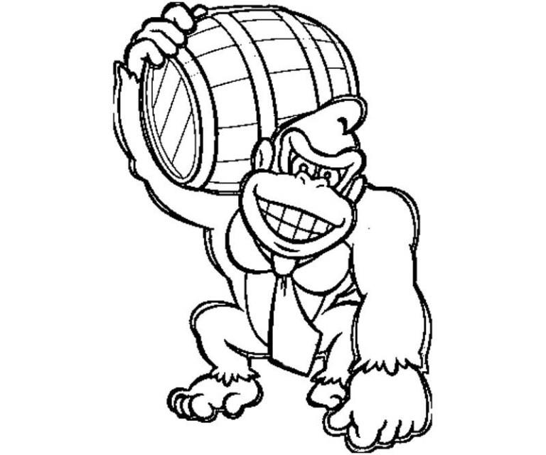 donkey king kong coloring page image