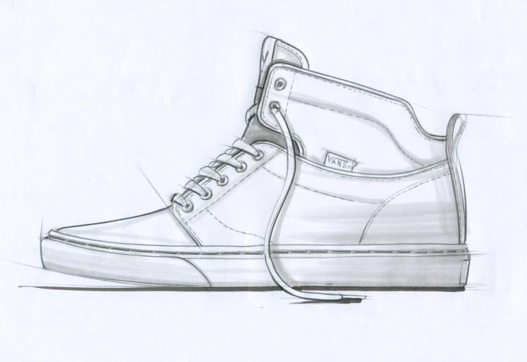 drawn sneakers van pencil and in vans shoe