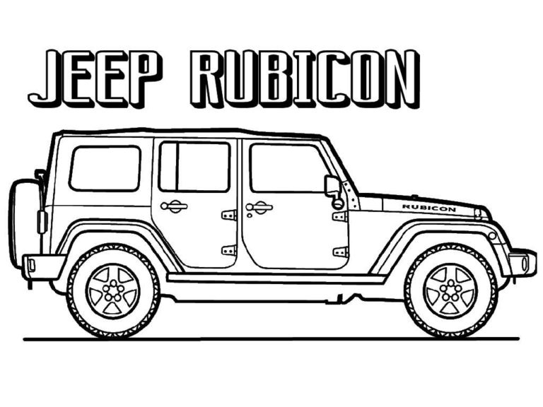 free jeep rubicon Coloring Pages to print