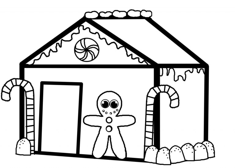 Gingerbread House Coloring Page Free Printable