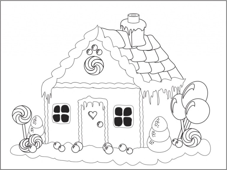 Gingerbread House Coloring Page Printable