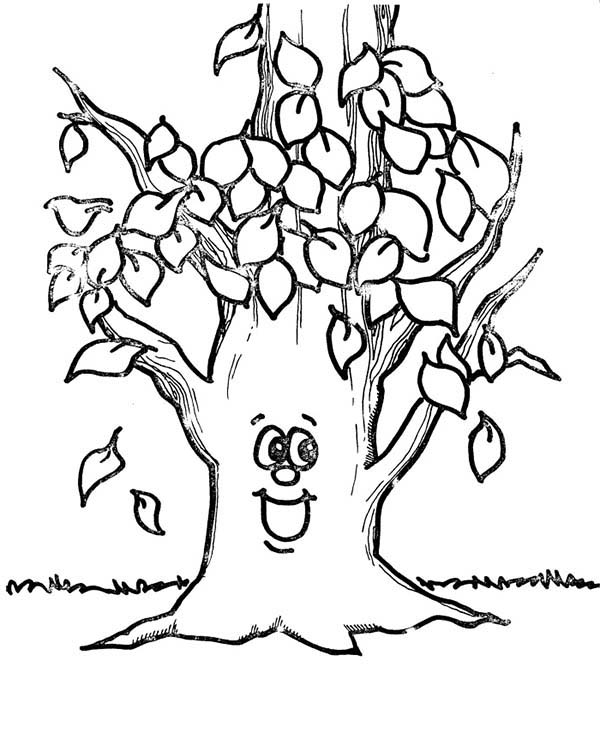 happy tree autumn leaf coloring page download print online
