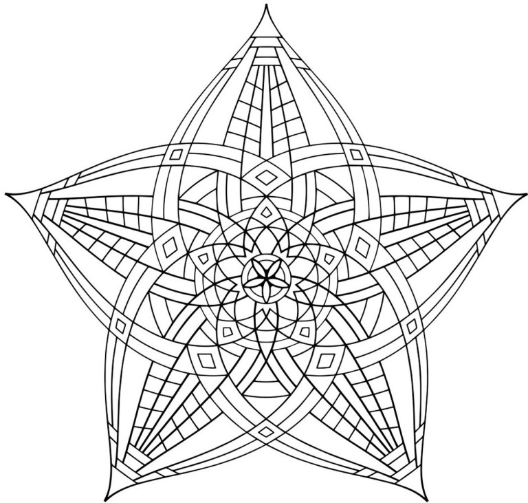 hard geometric coloring pages to print online or offline