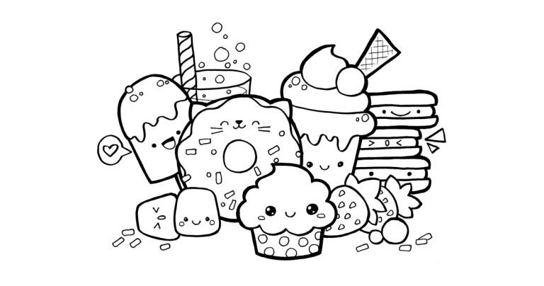 Kawaii Coloring Pages Food