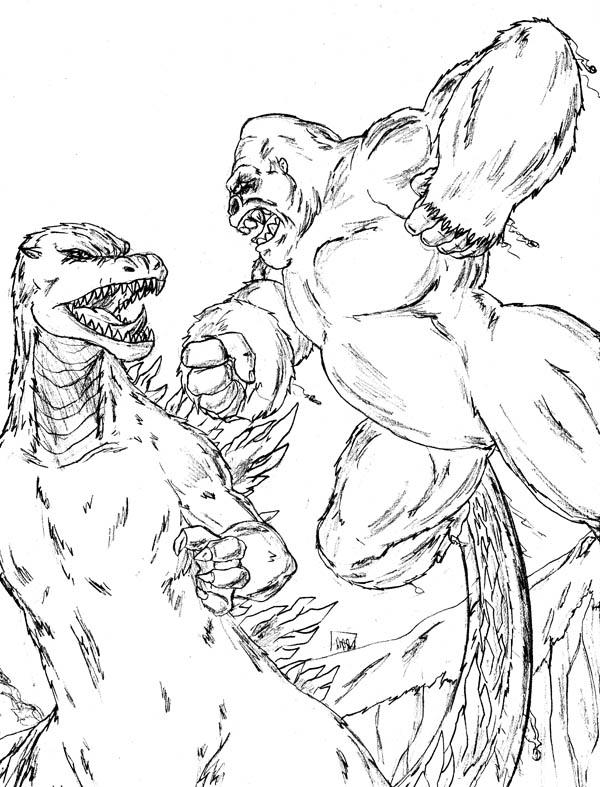 king kong versus godzilla coloring pages photos