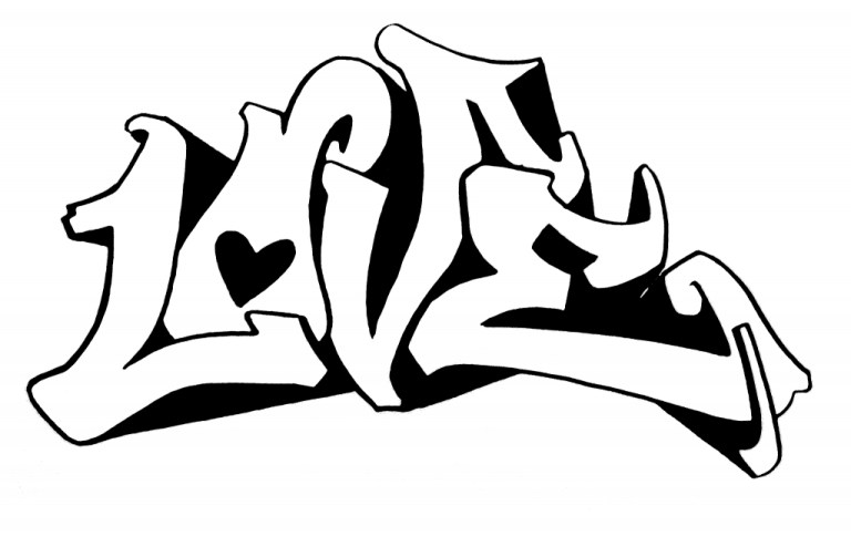 love Graffiti Characters Coloring Pages
