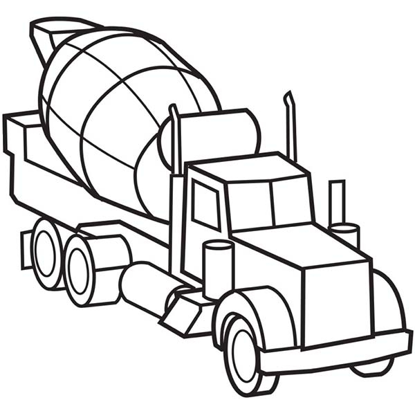 picture of cement Truck Coloring