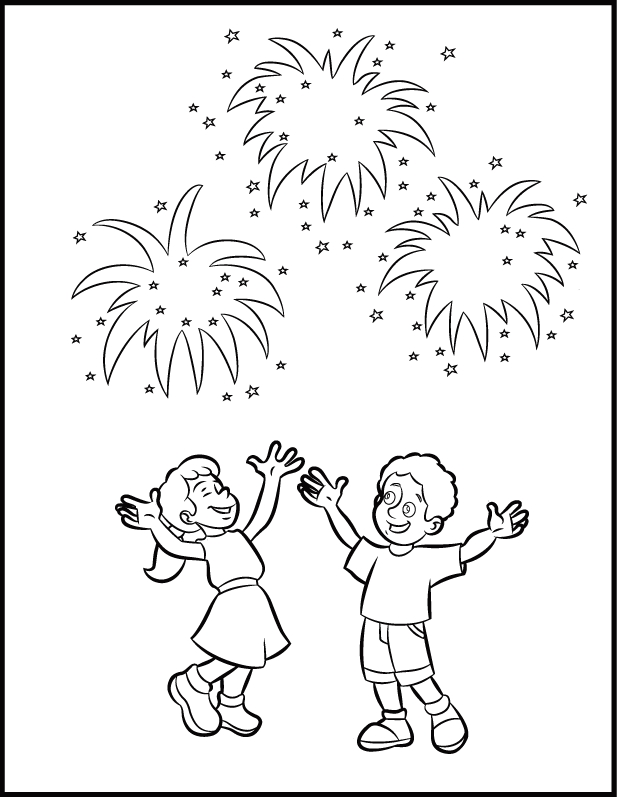 printable fireworks coloring pages 2022