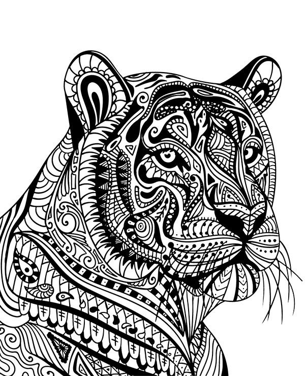 tiger easy animal mandala coloring pages